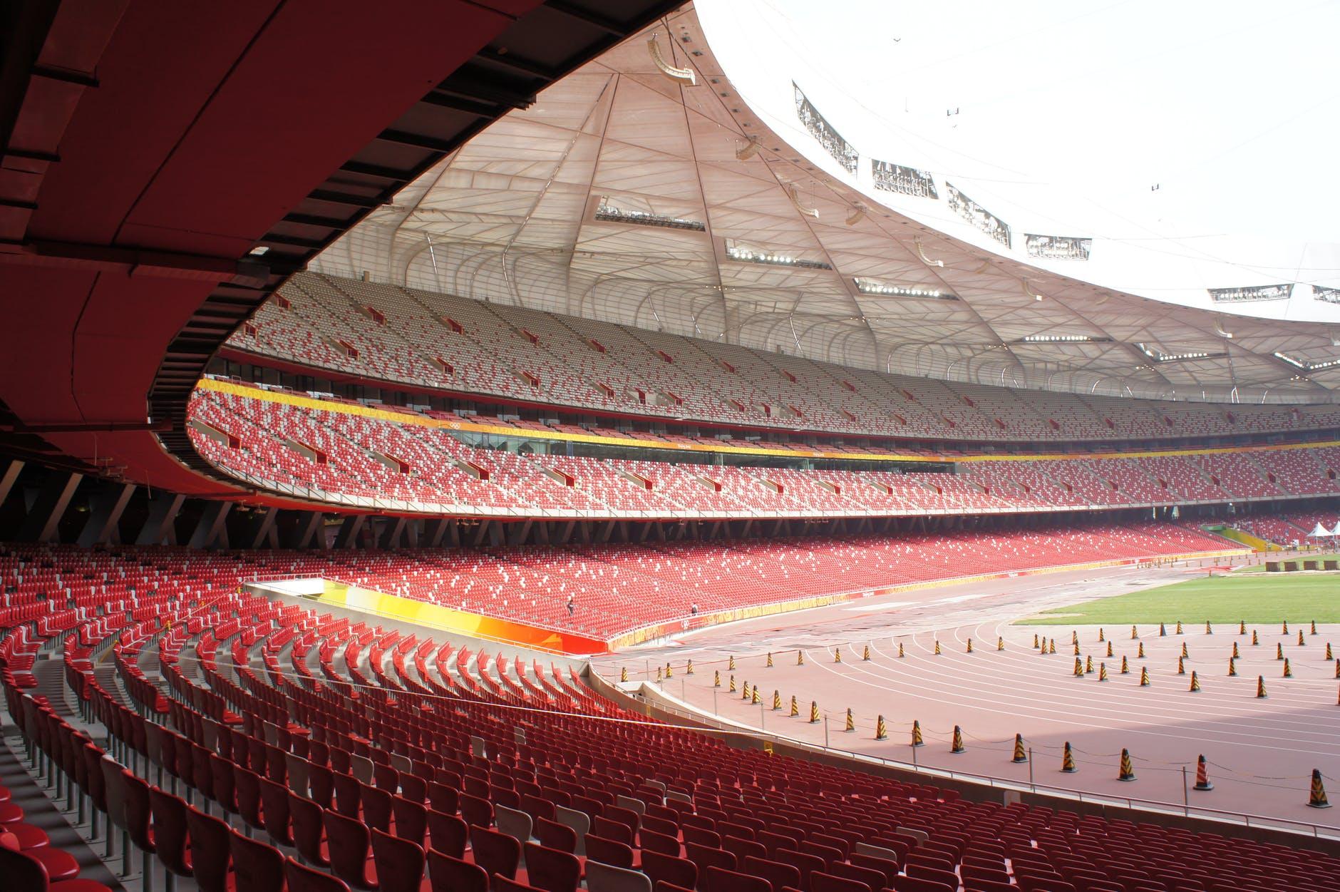 red and white stadium interior